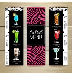 Cocktail menu design on wooden background vector image