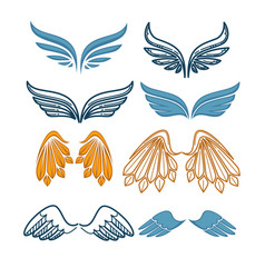 company name logo emblem with blue angel wing on vector image