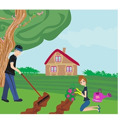 Couple with garden tools working together at vector