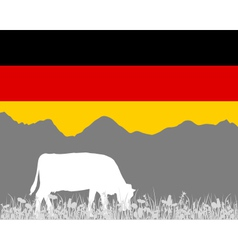 Cow alp and german flag vector image