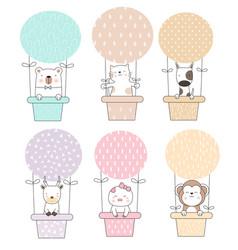 Cute baanimal cartoon with balloon cartoon vector