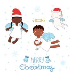 Cute christmas angels vector
