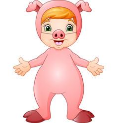 cute girl cartoon wearing pig costume vector image
