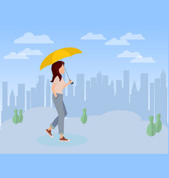 cute girl walking with umbrella in her hand vector image