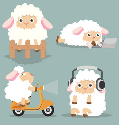 cute little sheep set vector image