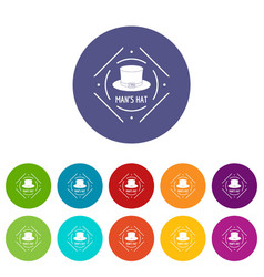 cylinder hat icons set color vector image