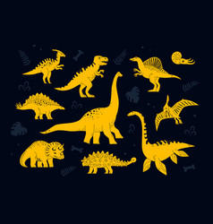 Dinosaurs collection - set flat design style vector