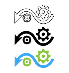 down arrow with gears vector image