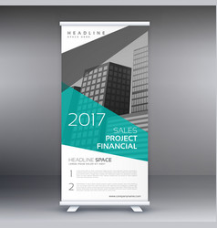 Elegant blue and gray business standee roll up vector