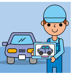 employee expert holding computer diagnostic car vector image