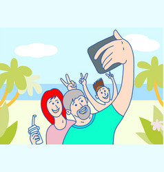 family makes selfie on vacation vector image