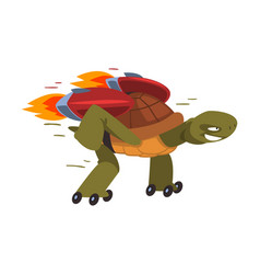 Fast turtle rollerblading funny animal cartoon vector