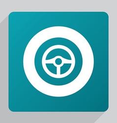 flat steering wheel icon vector image