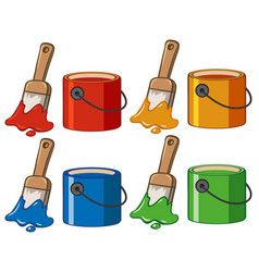 Four color in buckets and paintbrushes vector