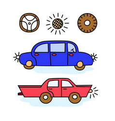 funny cartoon colorful cars vector image