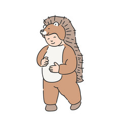 funny kid in animal suit vector image