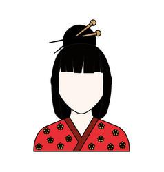 Geisha japanese woman vector