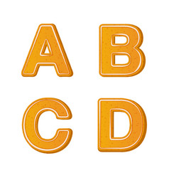 gingerbread alphabet letters from a to d for vector image