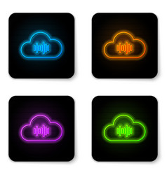 glowing neon music streaming service icon vector image