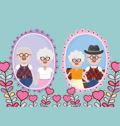 Grandparents elderly couple vector