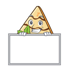 Grinning with board crepe character cartoon style vector