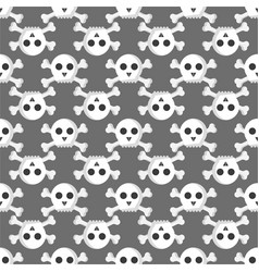 Grunge seamless pattern with skulls vector