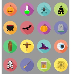 halloween flat icons 19 vector image