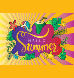 hand drawn hello summer background vector image