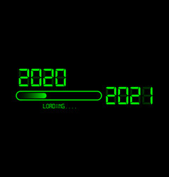 Happy new year 2020 with loading to up 2021 icon vector