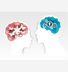 Head silhouettes with gears and flowers vector
