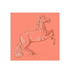 Horse sketch drawing prancing vector