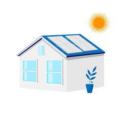 house with solar roof panels green energy ecology vector image