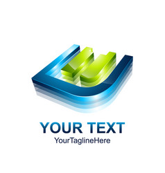 initial letter e logo template colored blue green vector image