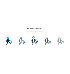 Kicking ball icon in different style two vector