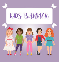 Kids banner with girls vector