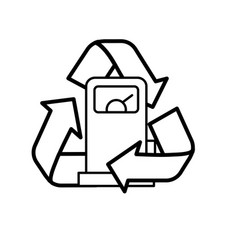 Line gas machine with recycle symbol around vector