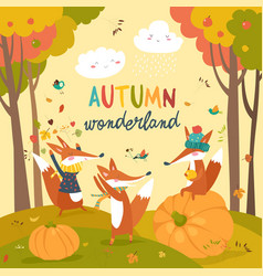 Little foxes playing with leaves in autumn forest vector