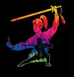 man and woman kung fu fighter martial arts vector image