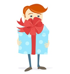 Man holding bid gift box with bow vector image