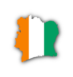 Map and flag of ivory coast vector