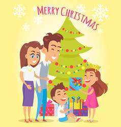 Merry christmas family holiday vector