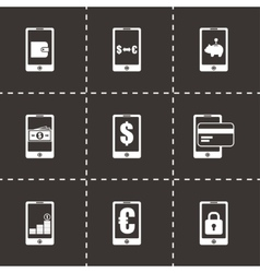 mobile banking icon set vector image