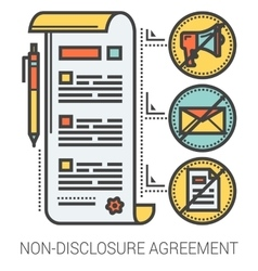 Non-disclosure agreement line infographic vector