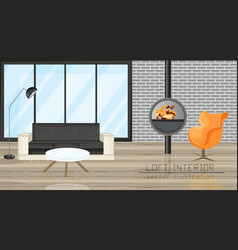 office lounge living room design chimney vector image