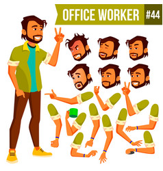 Office worker indian face emotions vector