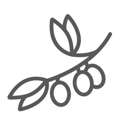 olive branch line icon plant and tree olives vector image