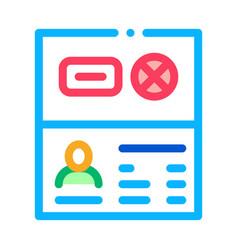 Passport denial icon outline vector