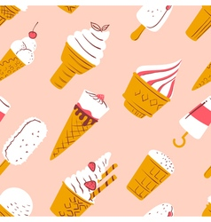 Pattern with ice cream in cartoon style vector