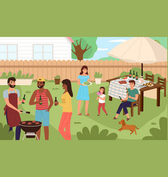 picnic backyard people cooking and eating grill vector image