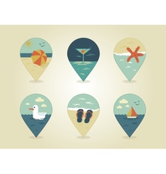 pin map icons summer vector image